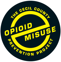 Black and yellow Cecil County Opioid Misuse circular logo